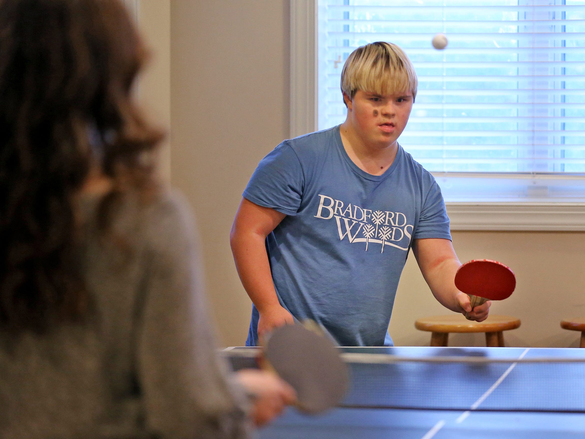 Molly Shaffer and Sky Simpson play ping pong at Molly's home, Wednesday, Dec. 12, 2018. The two have been best friends since fourth grade.