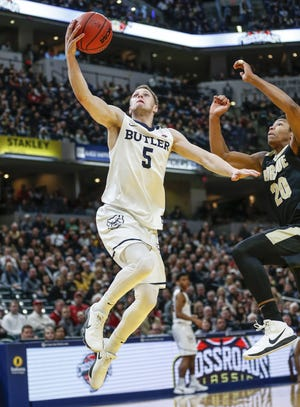 Butler guard Paul Jorgensen at last year's Crossroads Classic. At 5-2, Butler has the best record of the four competing teams in the annual event.