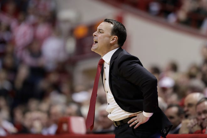 Indiana head coach Archie Miller shouts instructions during the first half of an NCAA college basketball game against Louisville, Saturday, Dec. 8, 2018, in Bloomington, Ind.