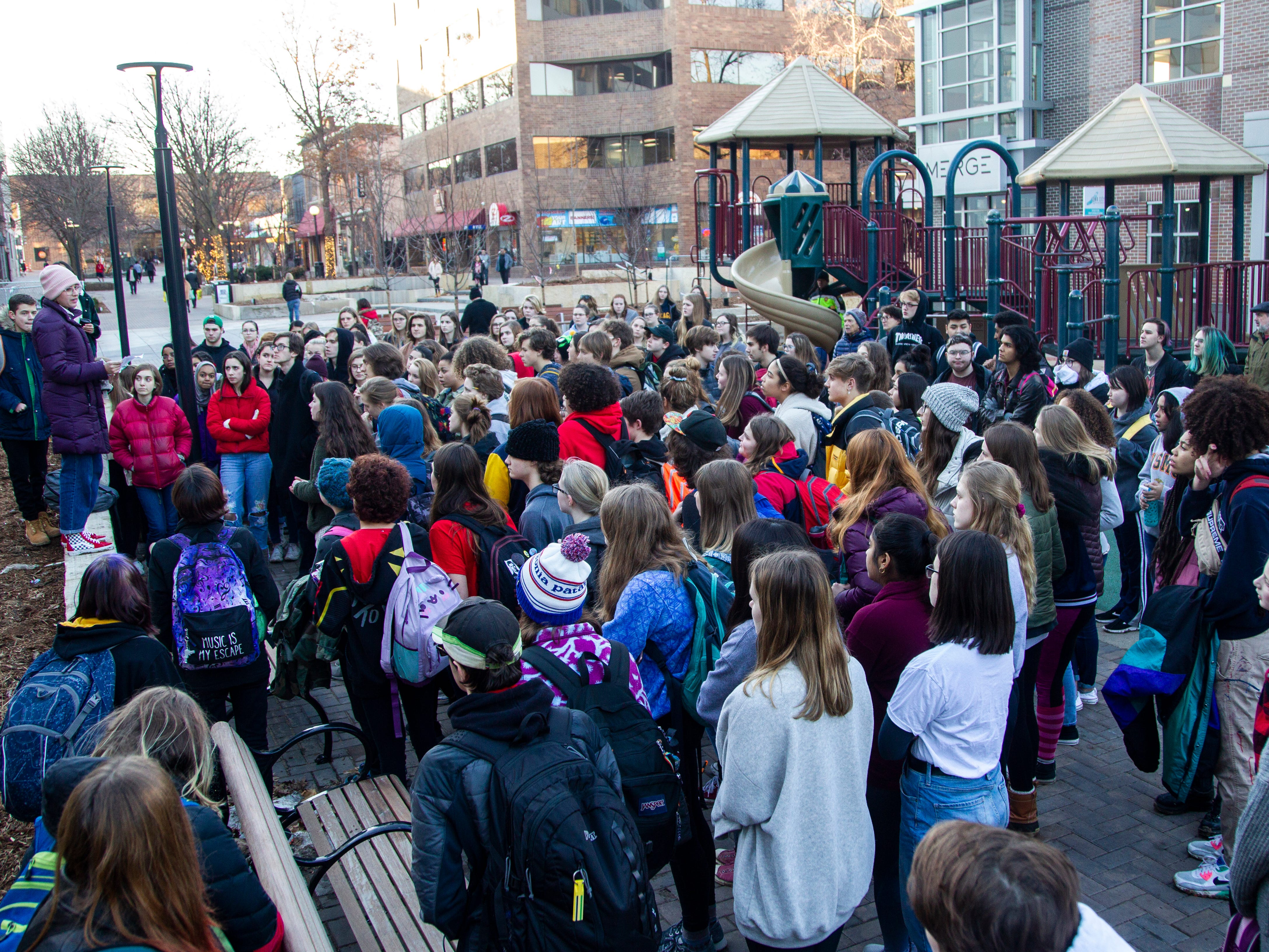 City High junior Mira Bohannan-Kumar speaks during a walkout on Friday, Dec. 14, 2018, in Iowa City. The Students Against School Shootings group organized the walkout to land on the 6th anniversary of the Sandy Hook school shooting.