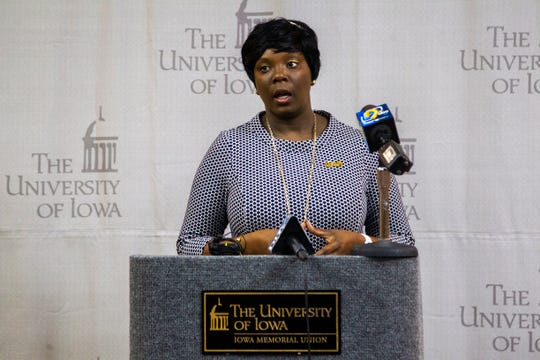 University of Iowa Vice-President for Student Life and Interim Chief Diversity Officer Melissa Shivers speaks to reporters on Thursday, Dec. 13, 2018, at the Iowa Memorial Union in Iowa City.