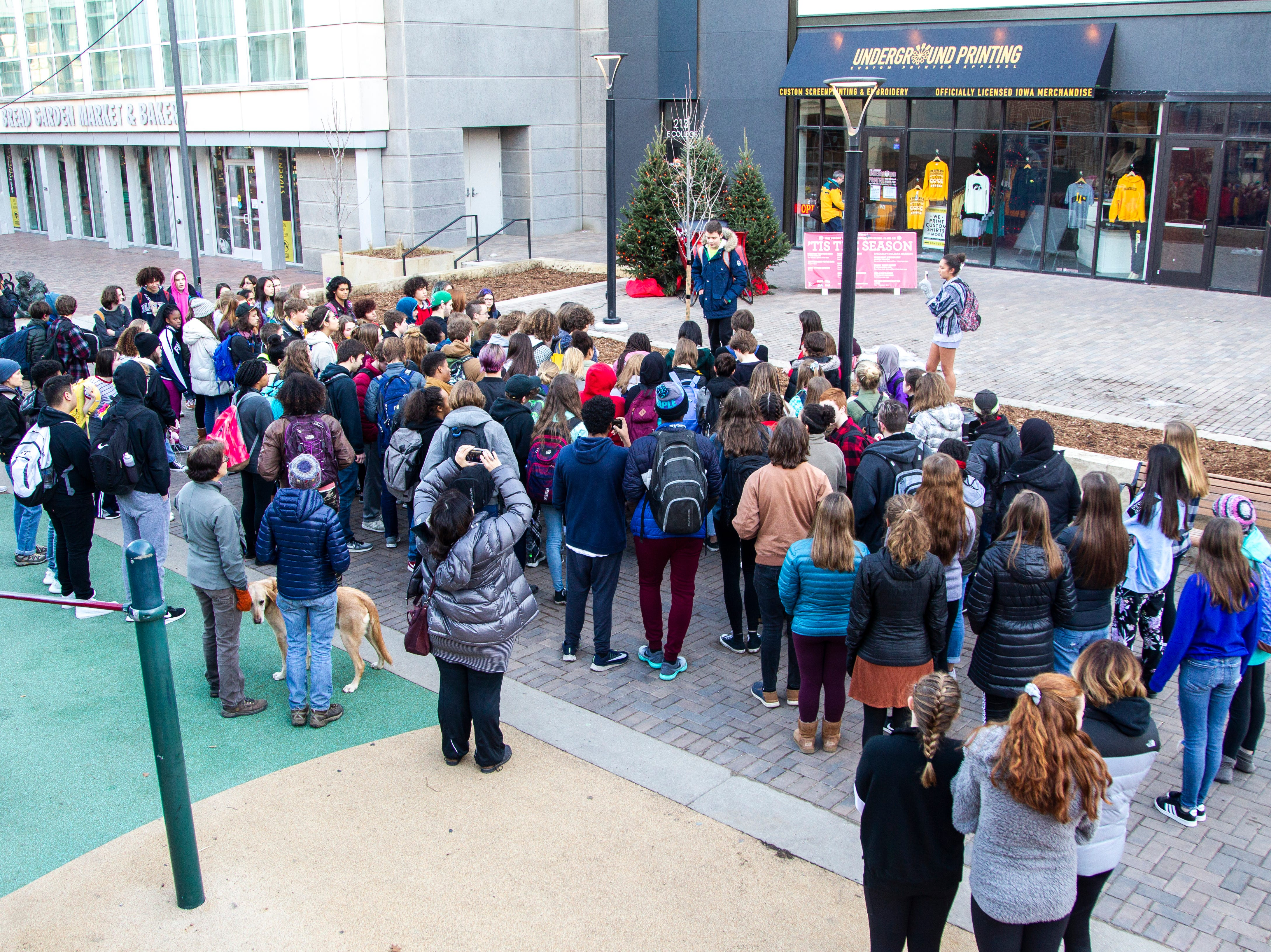 City High students gather downtown during a walkout on Friday, Dec. 14, 2018, in Iowa City. The Students Against School Shootings group organized the walkout to land on the 6th anniversary of the Sandy Hook school shooting.