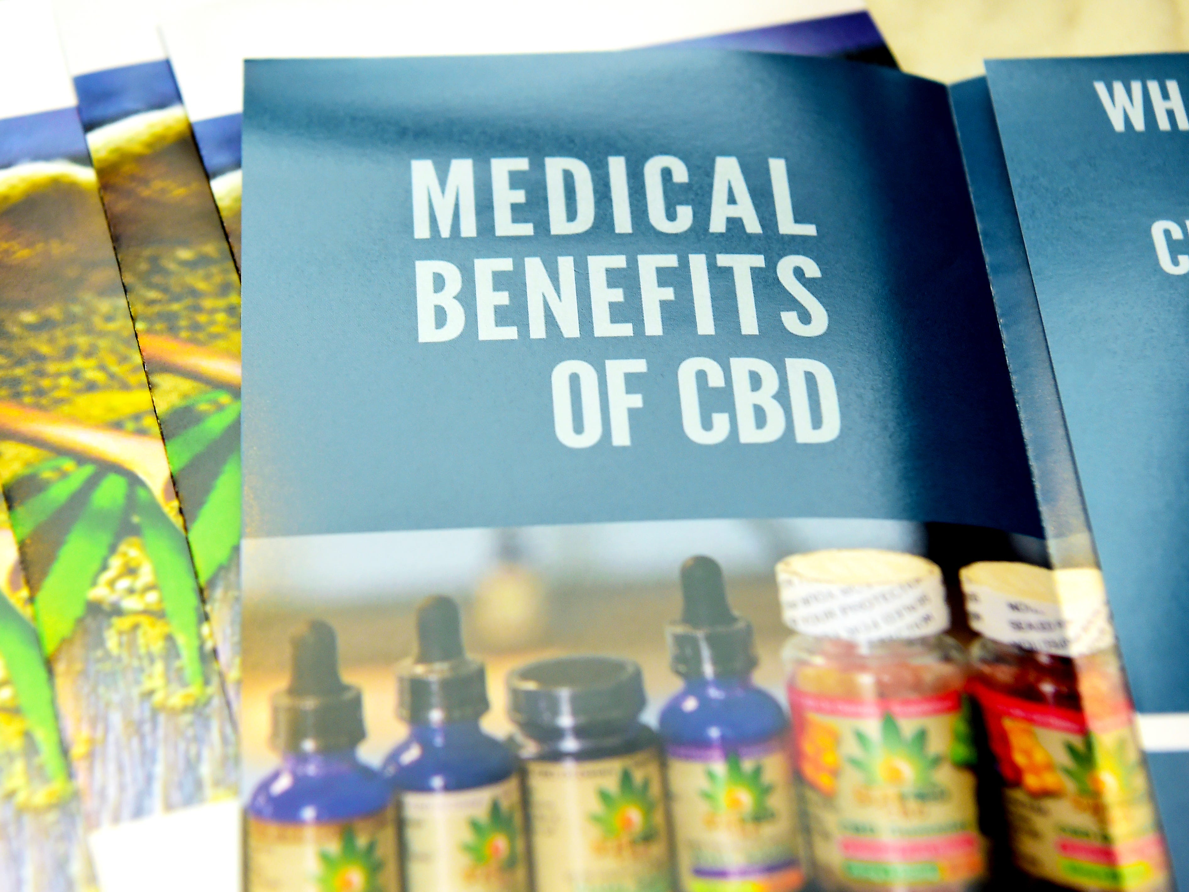 A pamphlet about the benefits of CBD oil in Your CBD Store in Ithaca.
