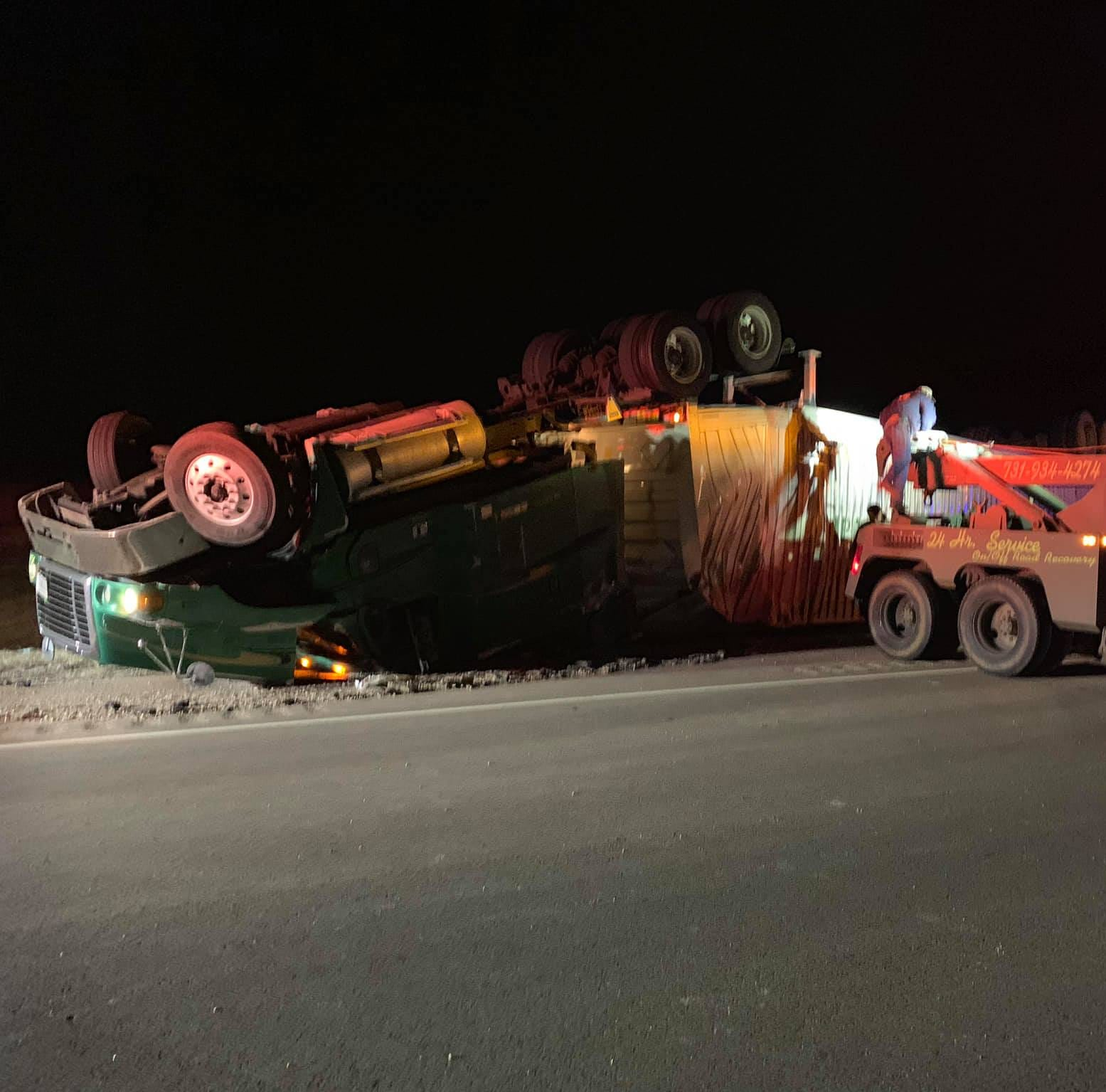 Semi loaded with potato chips overturns on Hwy 64