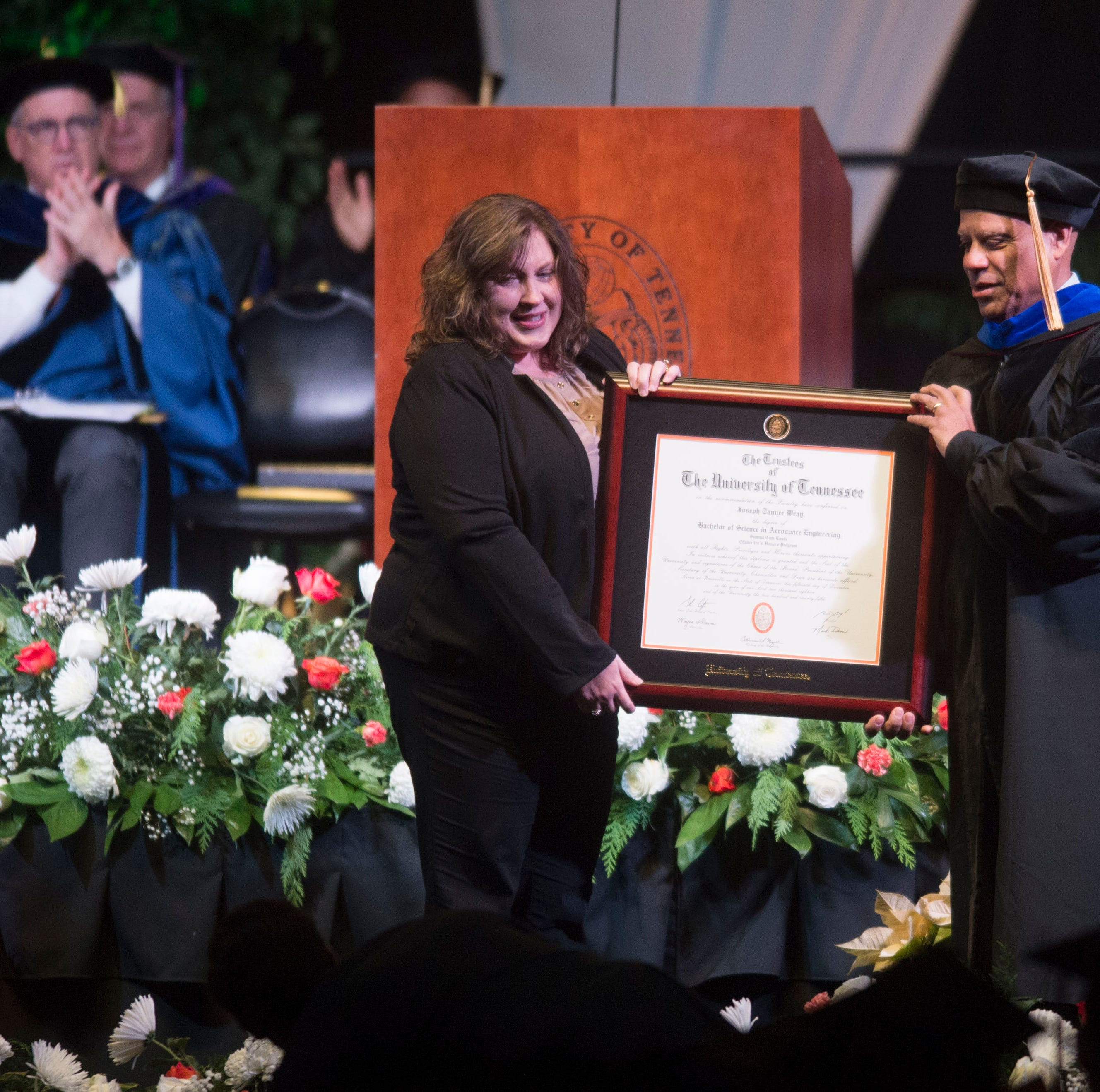 UT's commencement: A cancer patient honored, a military homecoming, and a posthumous degree