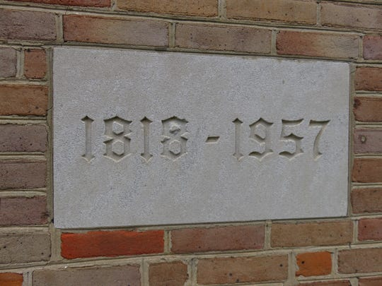 Cornerstone tracing Second Presbyterian's history from 1818 until current structure built in 1957