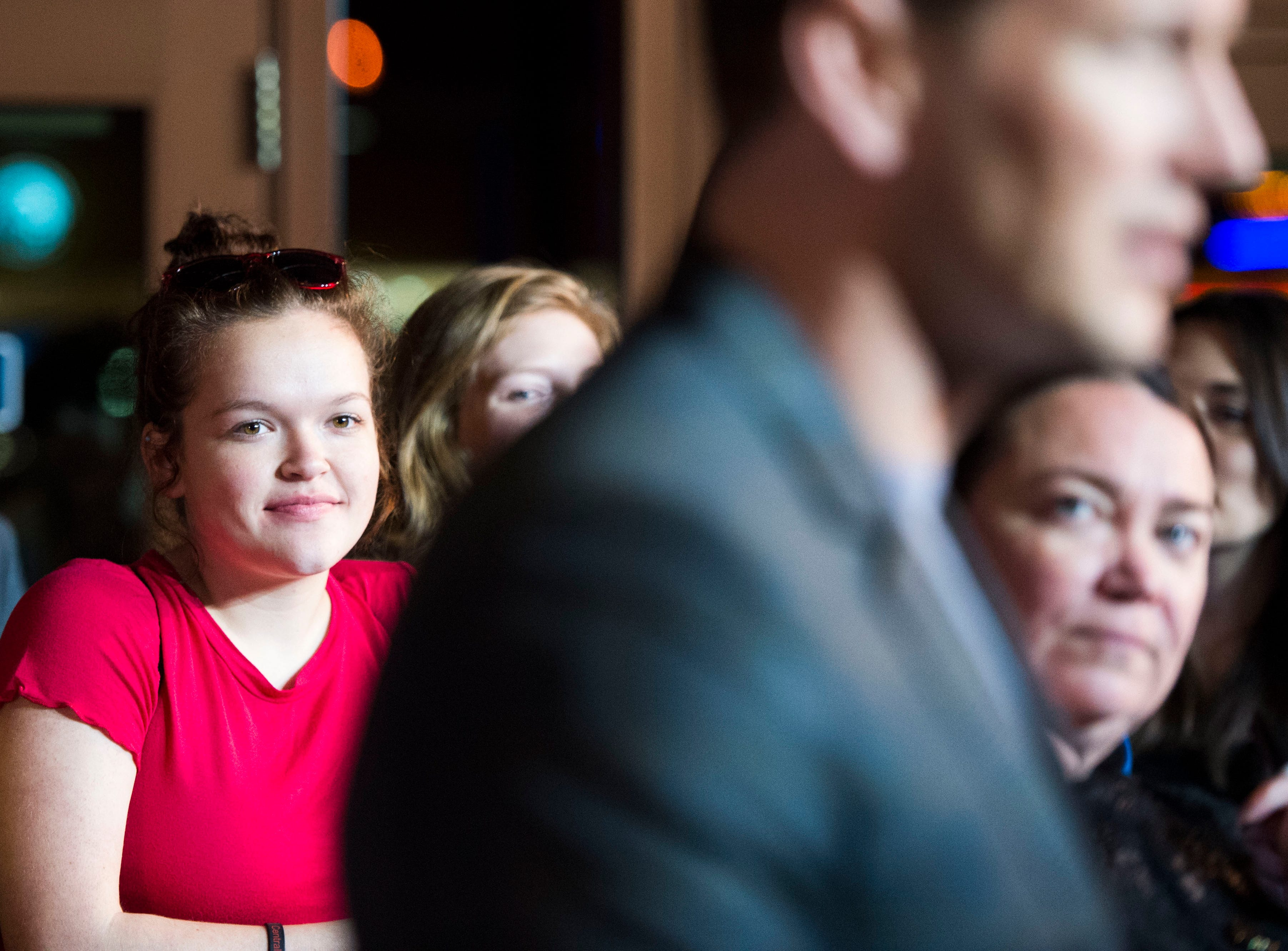 """Attendees watch as """"Aquaman"""" star Patrick Wilson speaks to the media at Regal's annual red carpet premiere for Variety at Regal Pinnacle Stadium 18, Thursday, Dec. 13, 2018."""