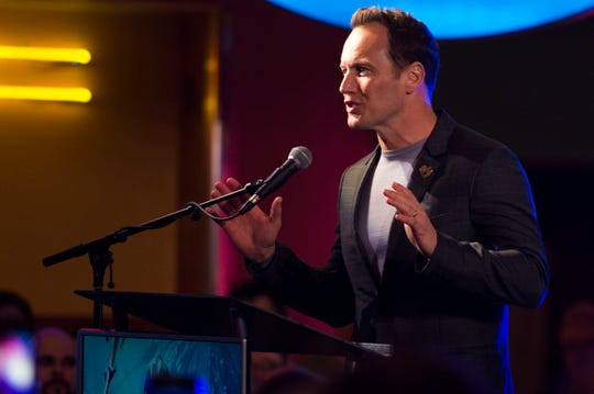 """""""Aquaman"""" star Patrick Wilson speaks to attendees at Regal's annual red carpet premiere for Variety at Regal Pinnacle Stadium 18, Thursday, Dec. 13, 2018."""