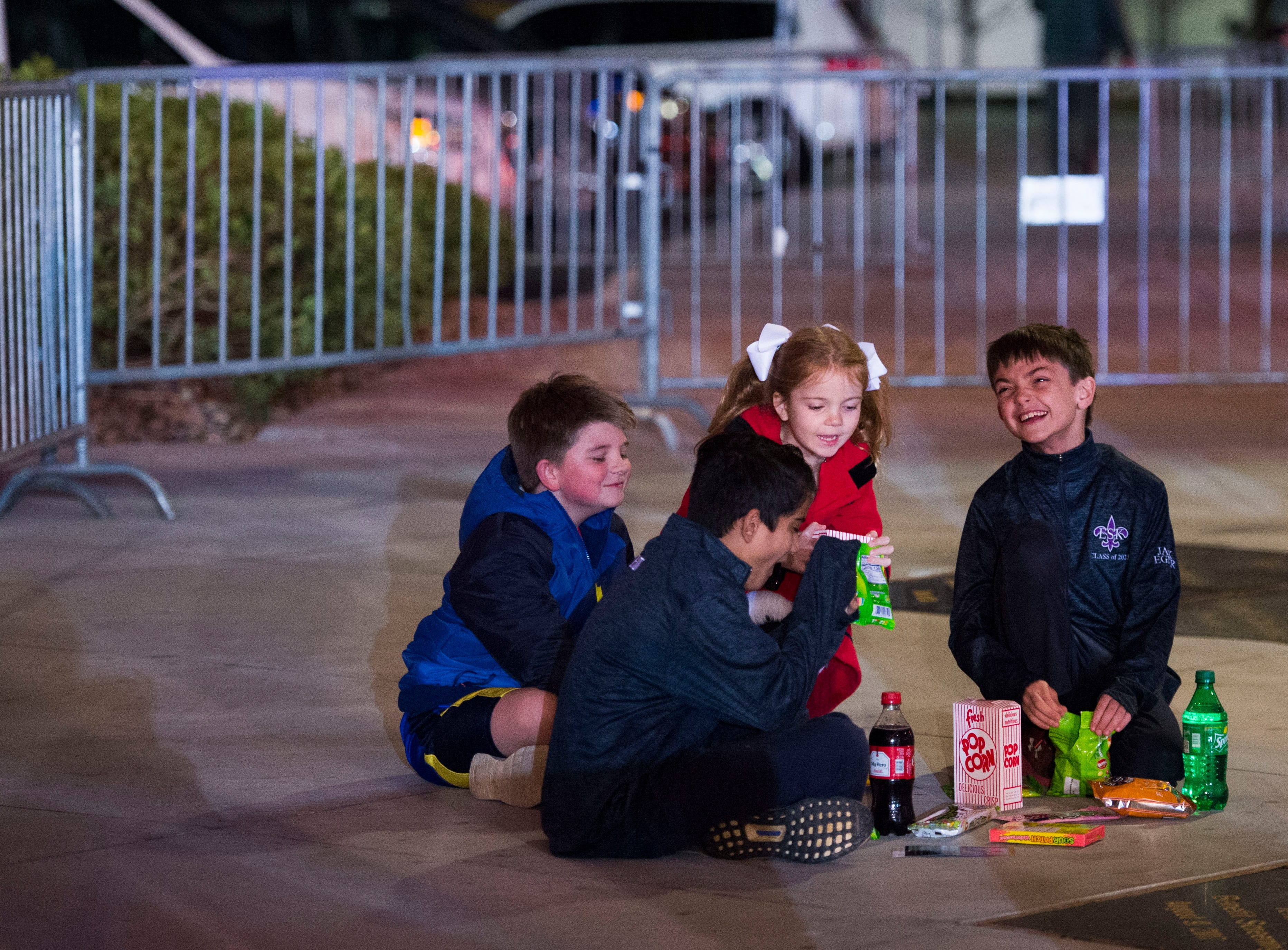 """Young attendees wait for """"Aquaman"""" star Patrick Wilson to arrive at Regal's annual red carpet premiere for Variety at Regal Pinnacle Stadium 18, Thursday, Dec. 13, 2018."""