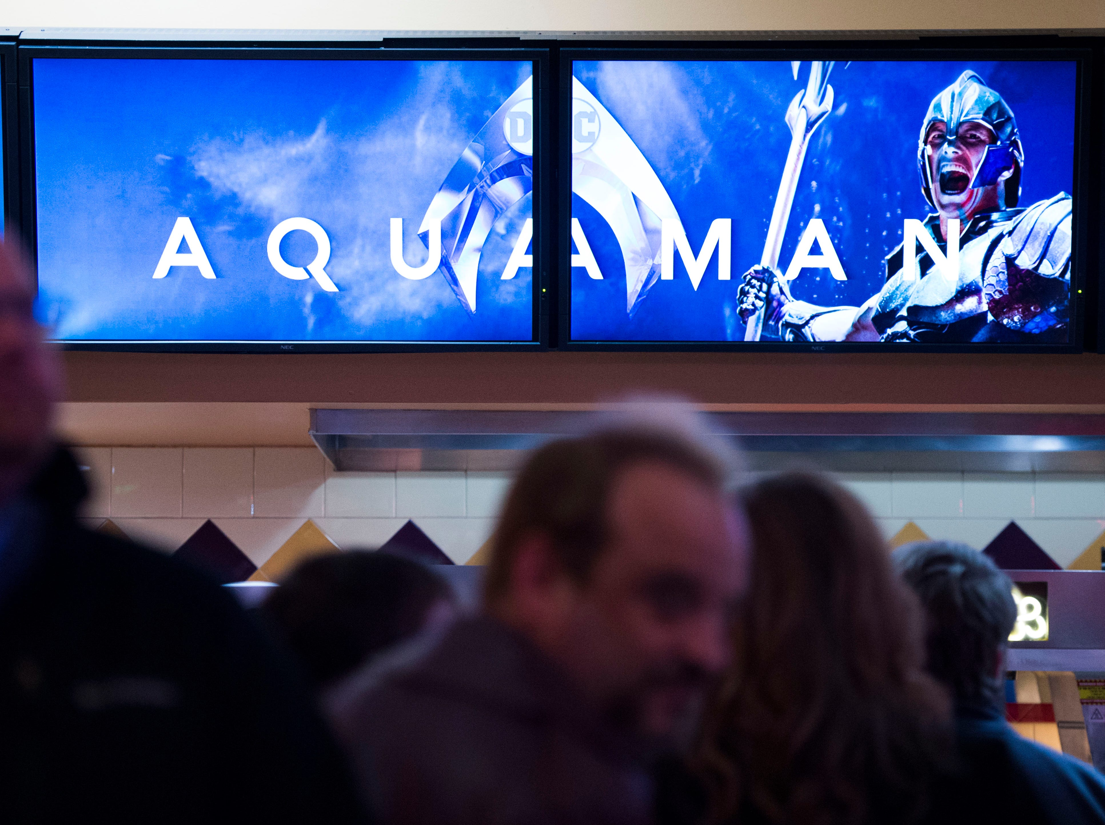 """Attendees wait for """"Aquaman"""" star Patrick Wilson to arrive at Regal's annual red carpet premiere for Variety at Regal Pinnacle Stadium 18, Thursday, Dec. 13, 2018."""