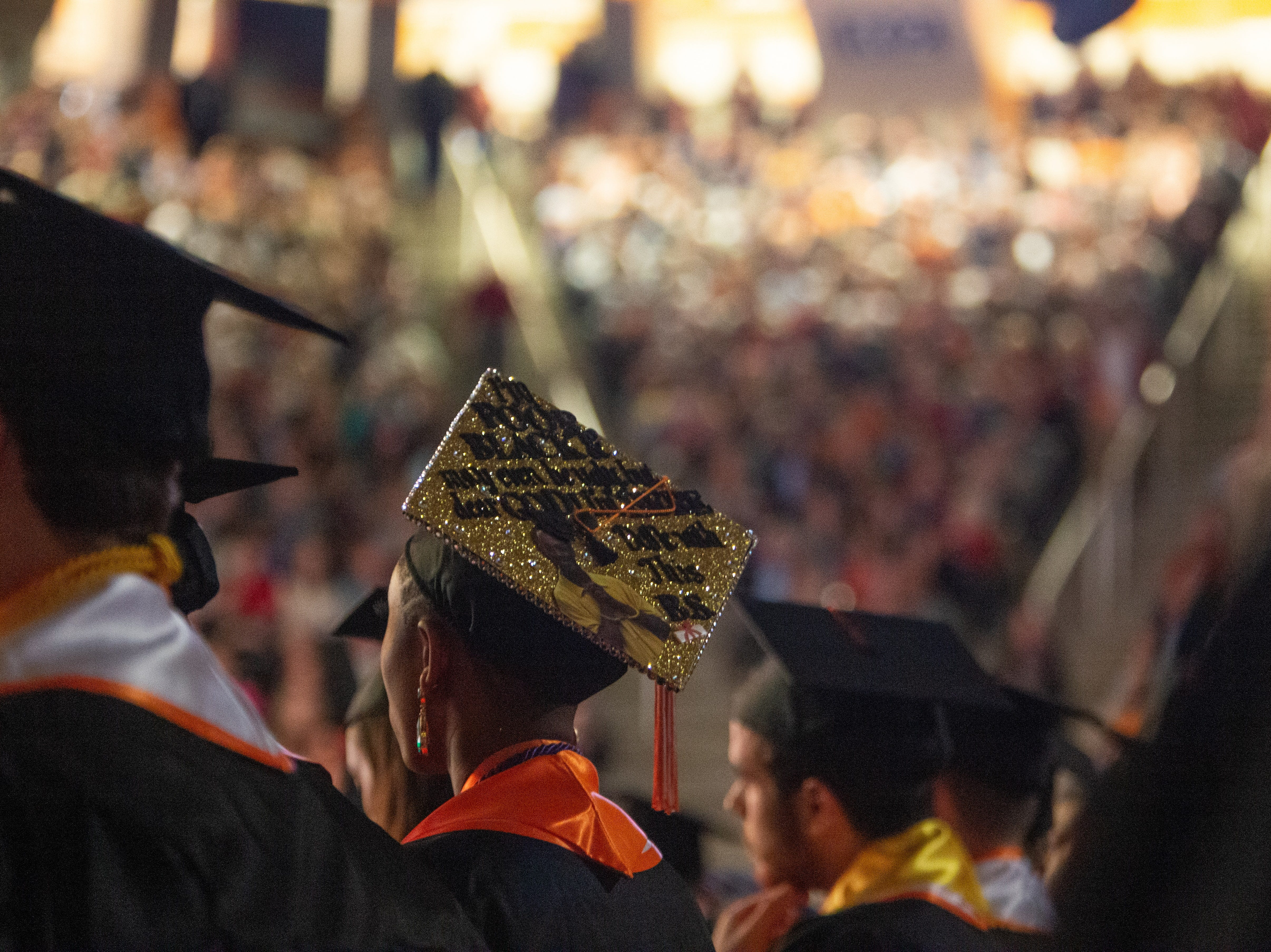 Some graduates decorated their caps to celebrate the final days at UT during the University of Tennessee winter Commencement ceremony at Thompson-Boling Assembly Center and Arena in Knoxville Friday, Dec. 14, 2018.