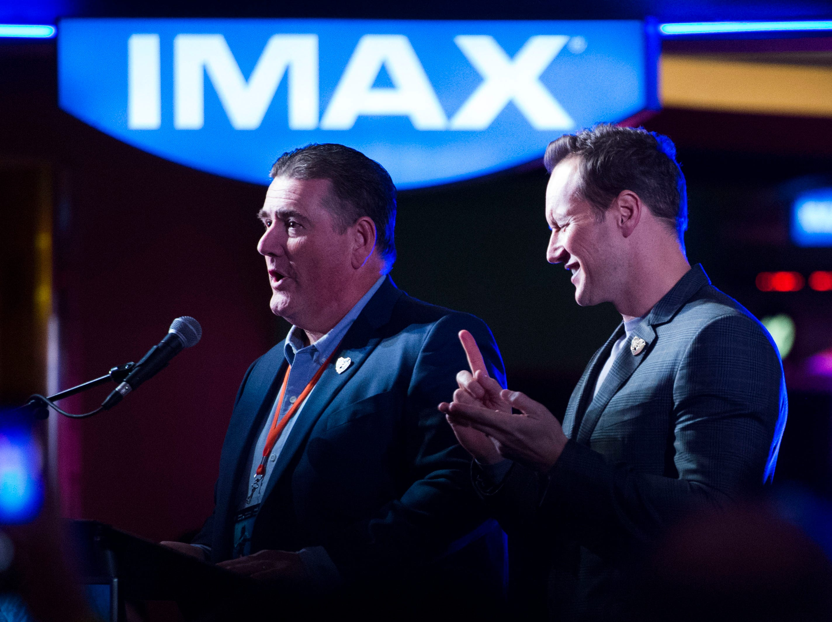 """At right """"Aquaman"""" star Patrick Wilson jokes around on stage at Regal's annual red carpet premiere for Variety at Regal Pinnacle Stadium 18, Thursday, Dec. 13, 2018."""