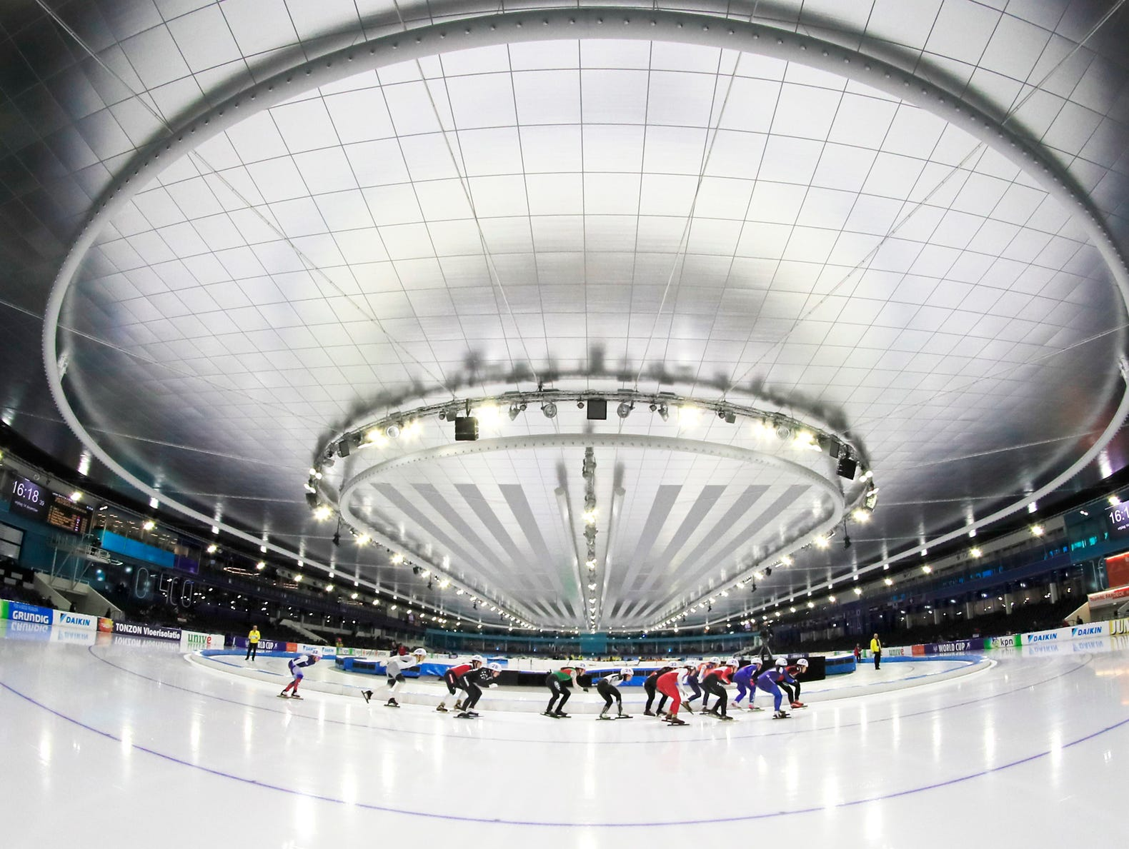 View of the ice arena during the women's semi final mass start event of the World Cup speed skating at the Thialf ice arena in Heerenveen, Netherlands, Friday, Dec.14, 2018. (AP Photo/Peter Dejong)