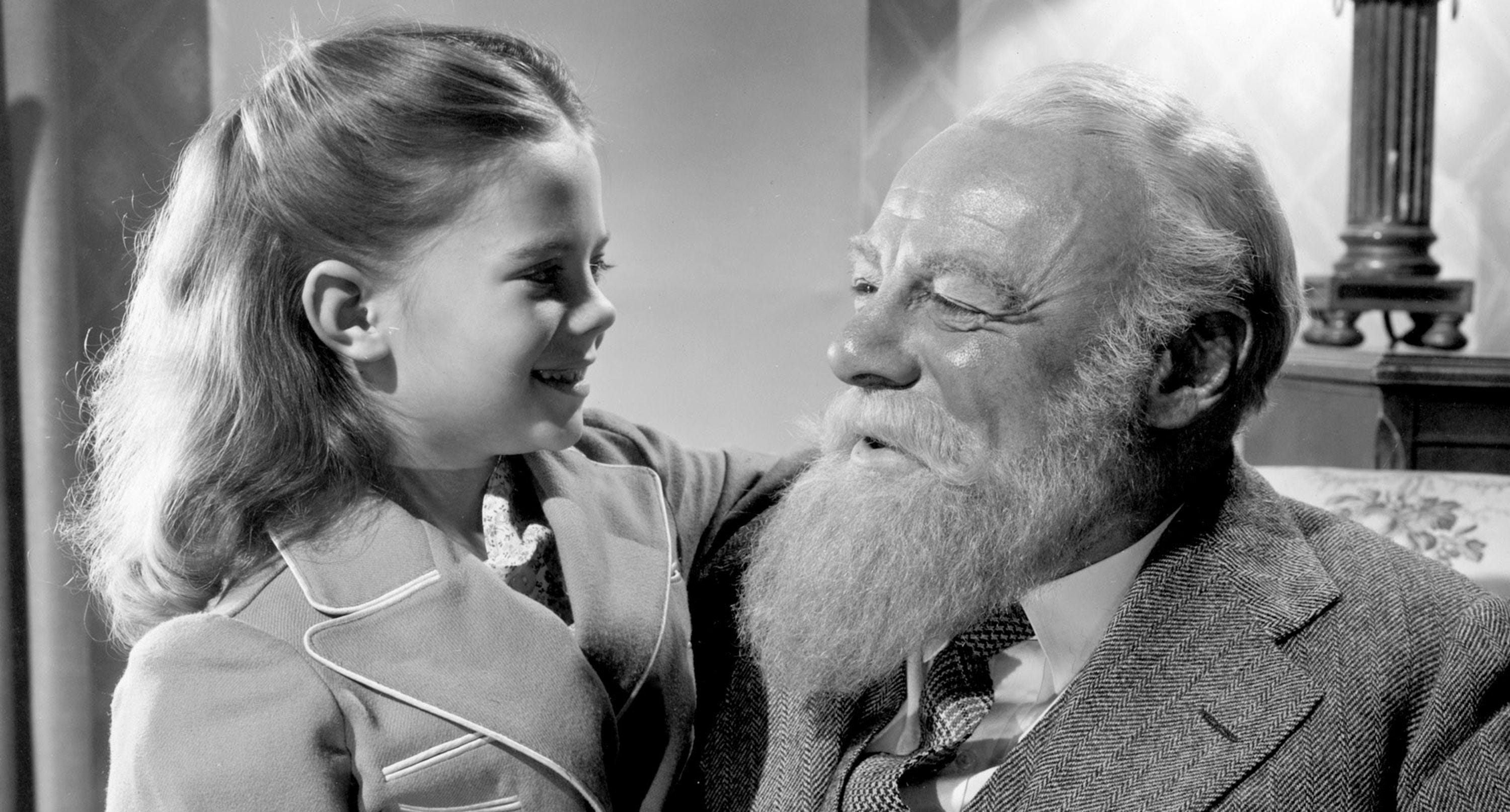 "Natalie Wood and Edmund Gwenn star in the 1947 film ""Miracle on 34th Street,"""