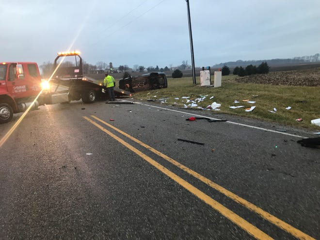 A Danville, Illinois, woman was critically injured in this rollover crash Friday morning on Indiana 25 near County Road 1000 South.
