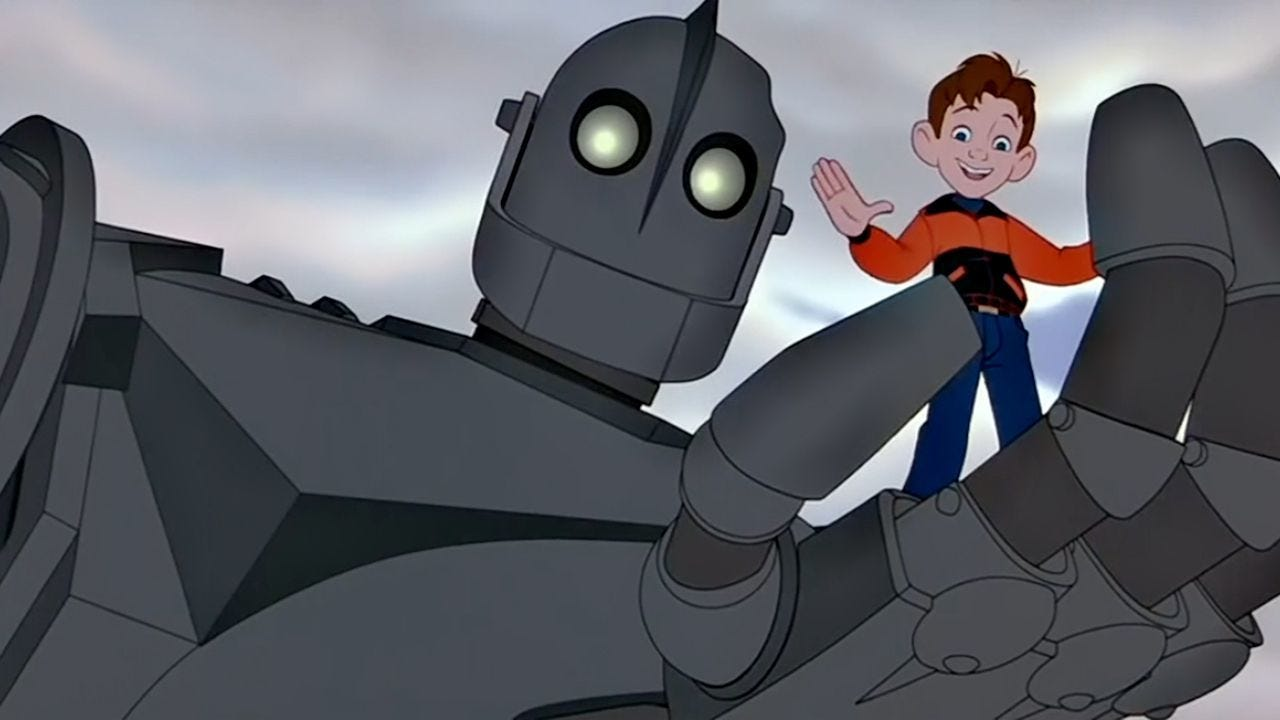 "The Iron Giant (voiced by Vin Diesel) and Hogarth Hughes (voiced by Eli Marienthal) star in the action-packed adventure for the entire family, ""The Iron Giant."""