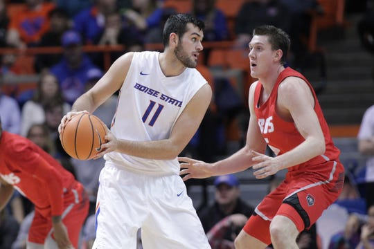Jan 3, 2018; Boise, ID, USA; Boise State Broncos forward Zach Haney (11) looks to pass the ball in the first half against the New Mexico Lobos at Taco Bell Arena. Mandatory Credit: Brian Losness-USA TODAY Sports