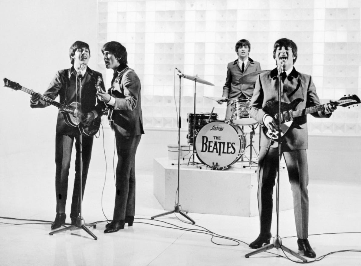 "The Beatles in a scene from ""A Hard Day's Night."""