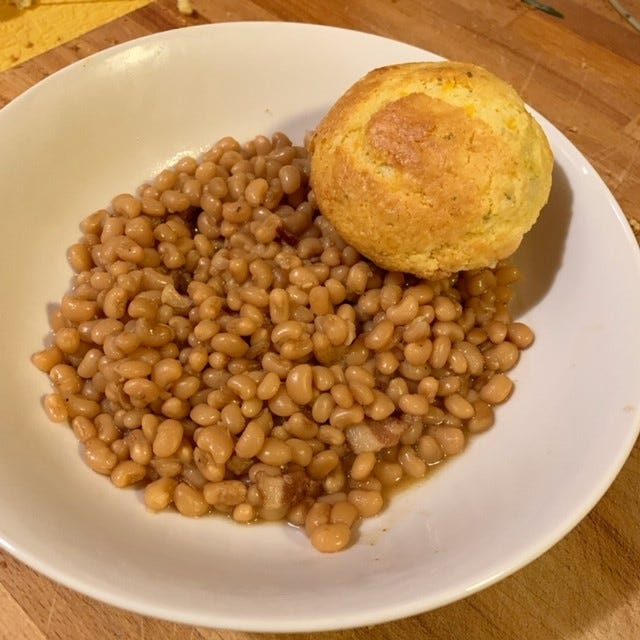 Beans and cornbread, a stick to your ribs comfort food.
