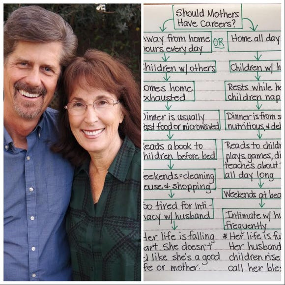 Lori Anderson, her husband Ken, and the chart she wrote that's creating controversy.
