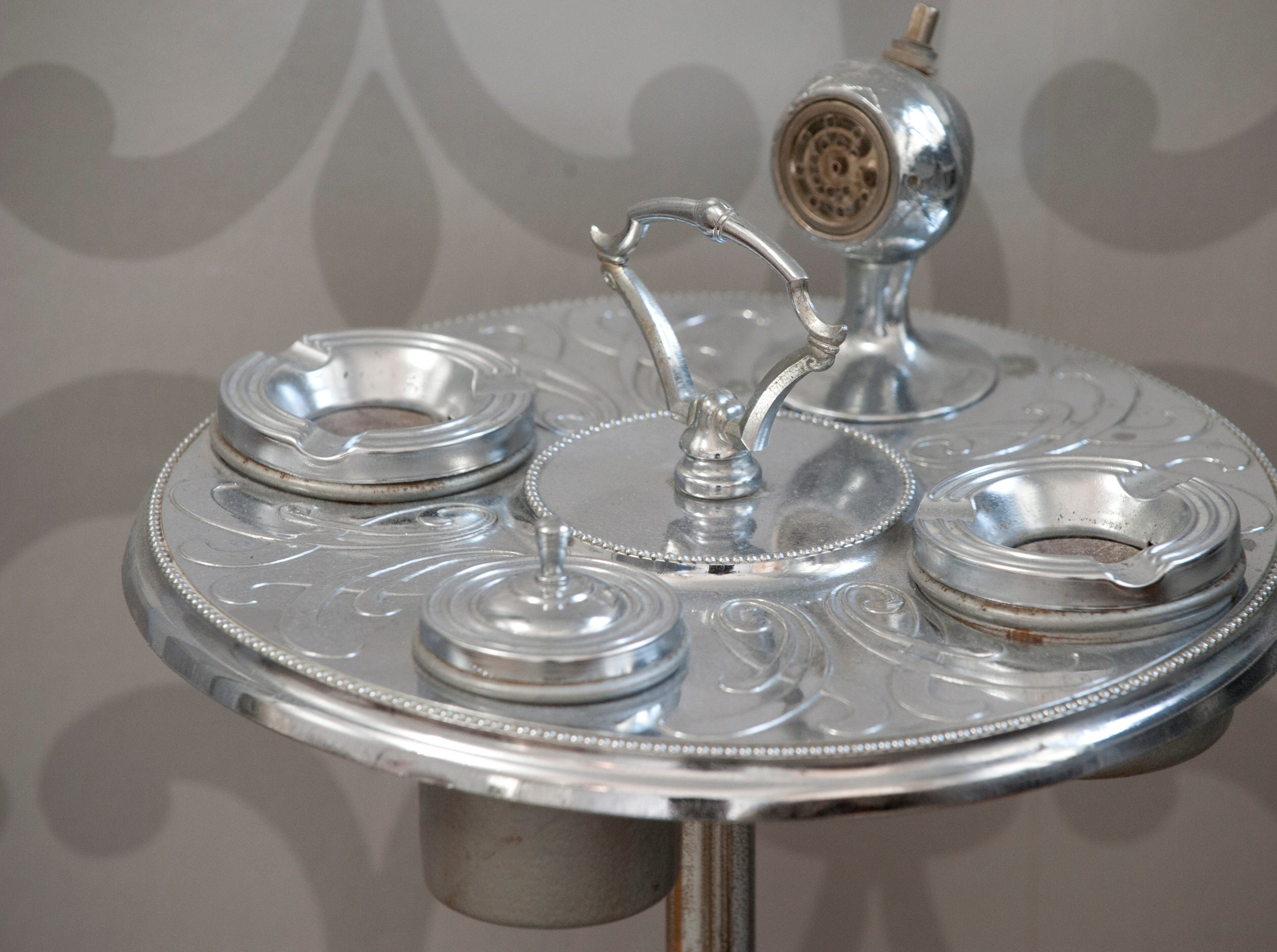 The 1st floor guest room features a vintage chrome and glass smoking stand.10 December 2018