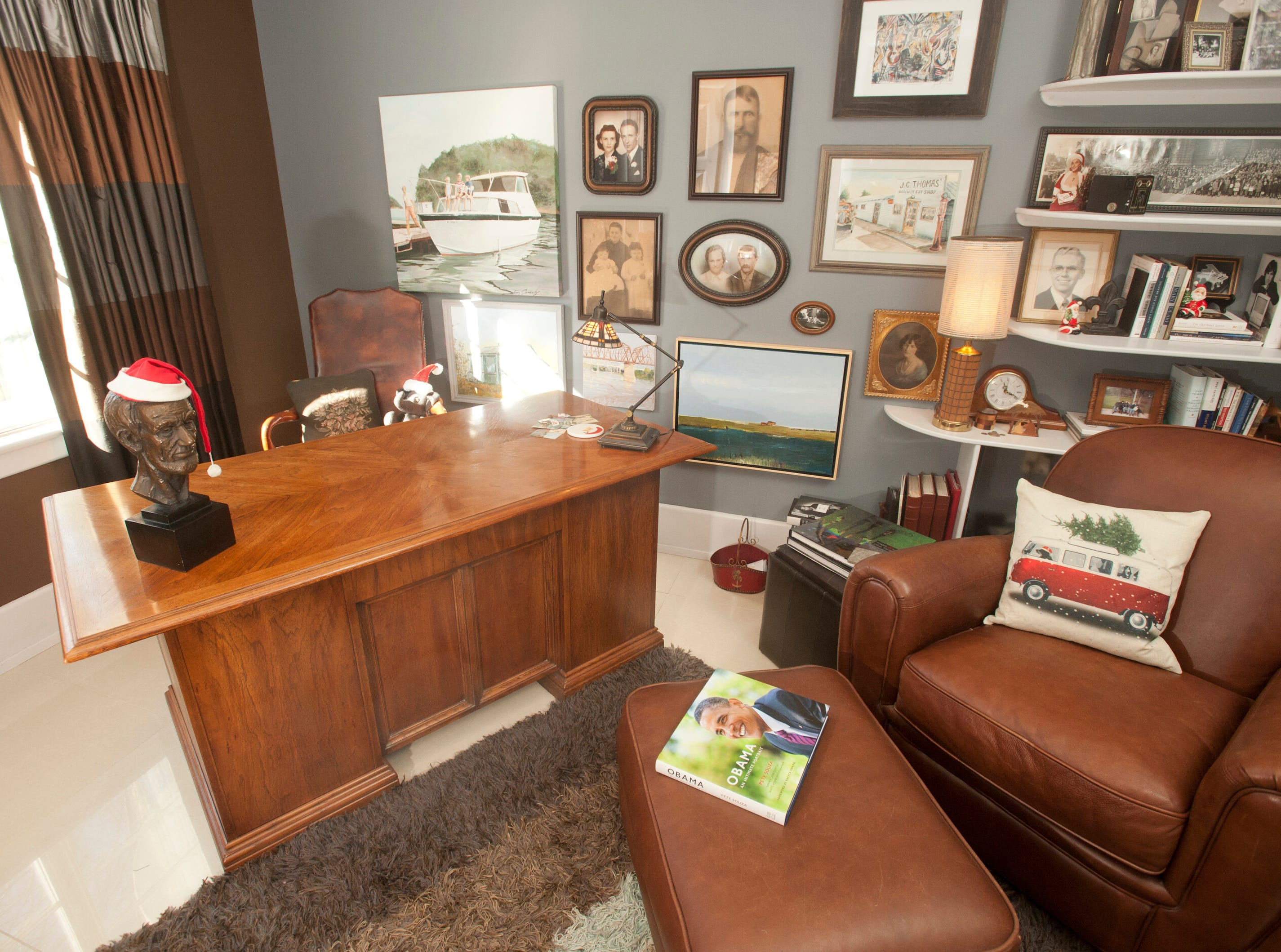 """The 1st floor office, called the """"Commonwealth Room, is part of the master suite. Notice the Santa hat on the bust of Abraham Lincoln on the desk.10 December 2018"""
