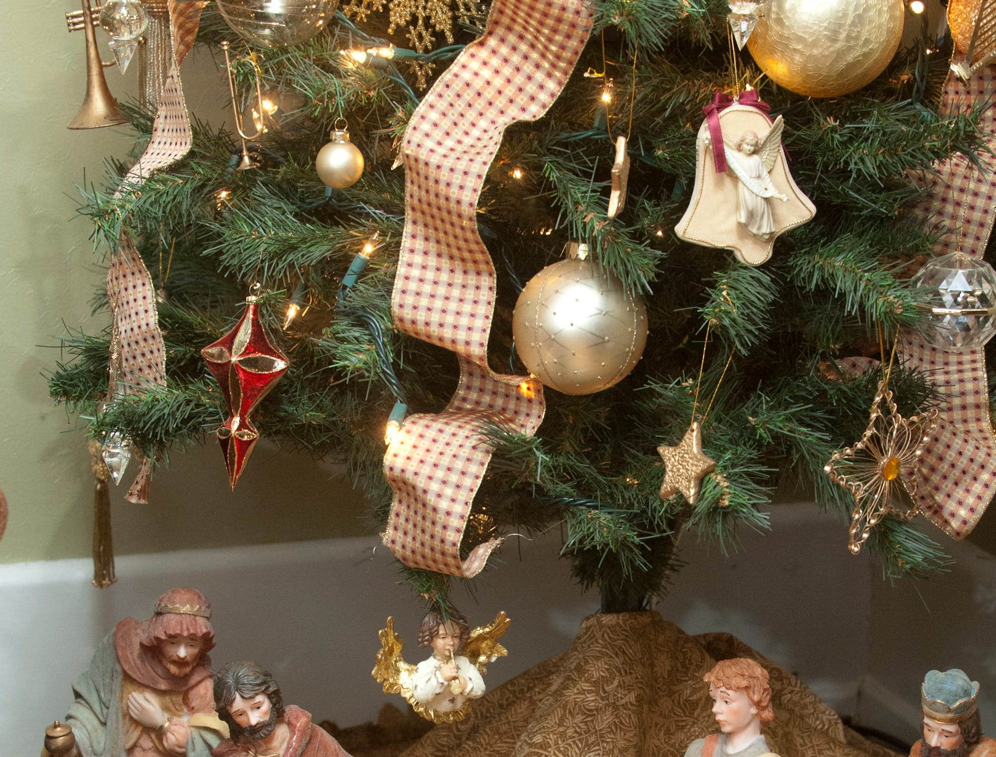A nativity scene under the Christmas tree in the television room.10 December 2018