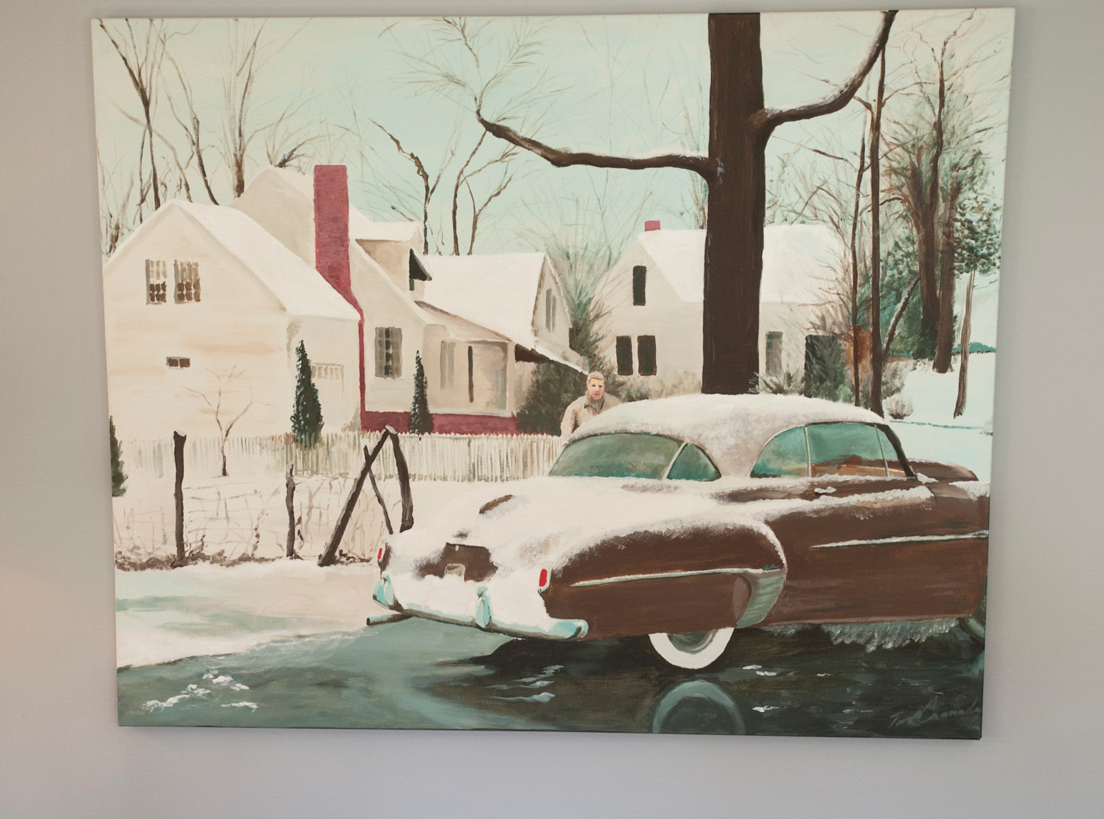 """Cannady's painting called """"Federberg,"""" reproduced a scene of Cannady's dad caught in an old photograph. It is in the home's living room.10 December 2018"""