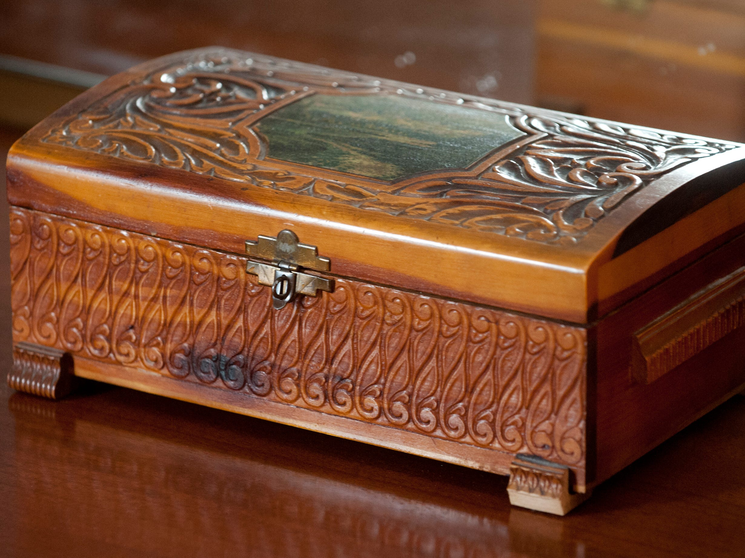 Lindy Casebier's dad courted Casebier's mother with this mini-chest that was filled with chocolates and presented to her on their first date. It sits atop a dresser in the master bedroom.10 December 2018