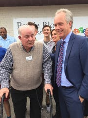 Bernie Block with Louisville Mayor Greg Fischer at the opening of Wellspring's new wellness center named after him.