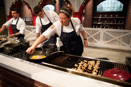 """(Left to right): Eddie Konrad, Brian Young and Sara Bradley on episode 3 of Bravo's """"Top Chef"""" Kentucky."""