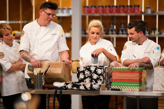 """Adrienne Wright, Brian Young, Kelsey Barnard and Eddie Konrad on episode 3 of Bravo's """"Top Chef"""" Kentucky."""