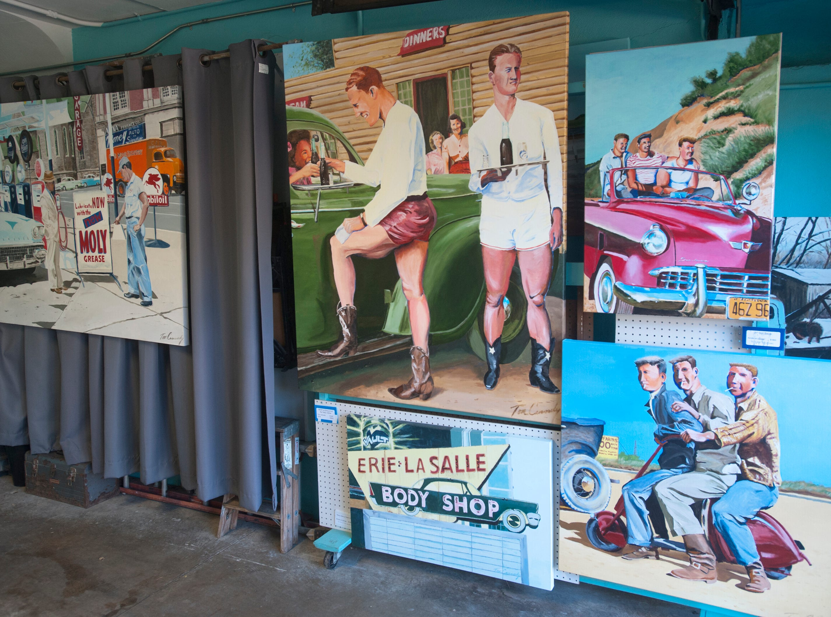 The home's garage is filled with Cannady's auto-themed artwork and pieces are occasionally exchanged with those inside to keep the decor fresh.10 December 2018