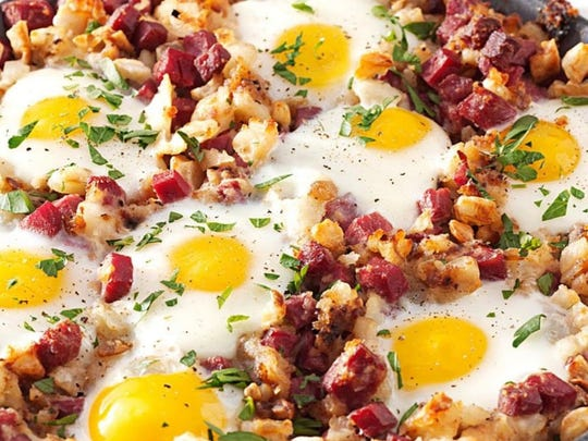 Corned beef hash with eggs on top at Lee Lee's Coney & Grill.