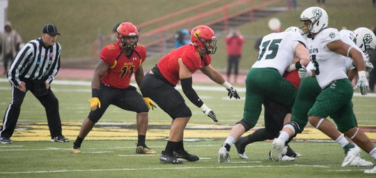 Parker Underwood, center, has found a home at Ferris State after stops at Western Michigan and Illinois State.