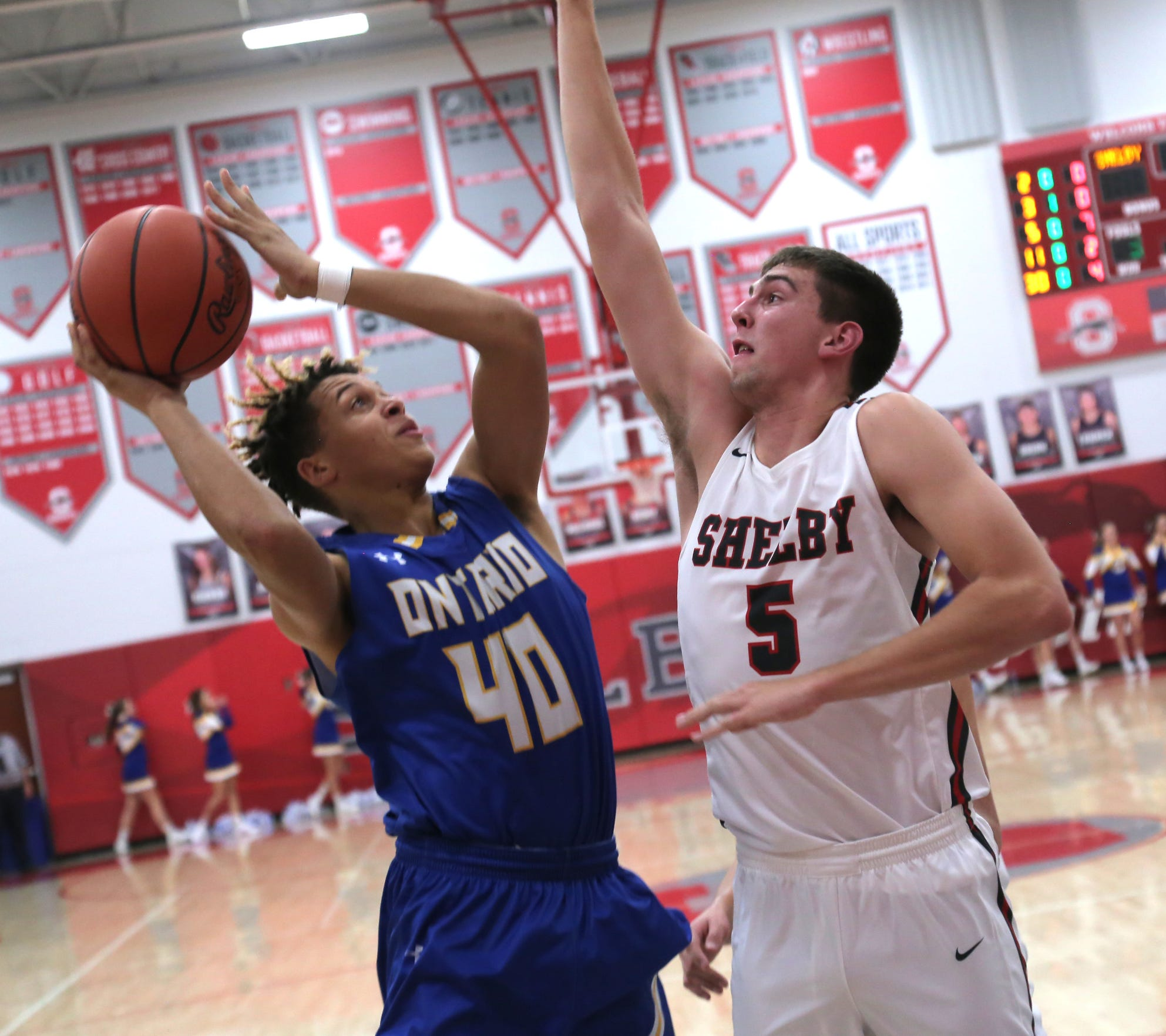 Shelby's Hunter Hoffman goes for a blocked shot during a game against Ontario his senior year.