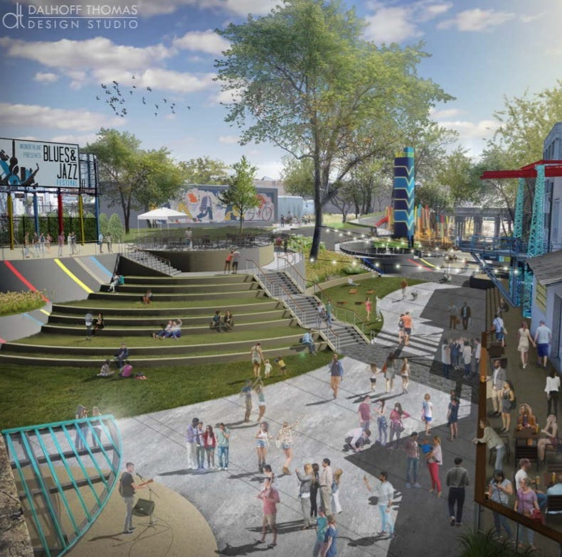 Planned $5.7M urban park seeks grant to pick up where Union Row development ends