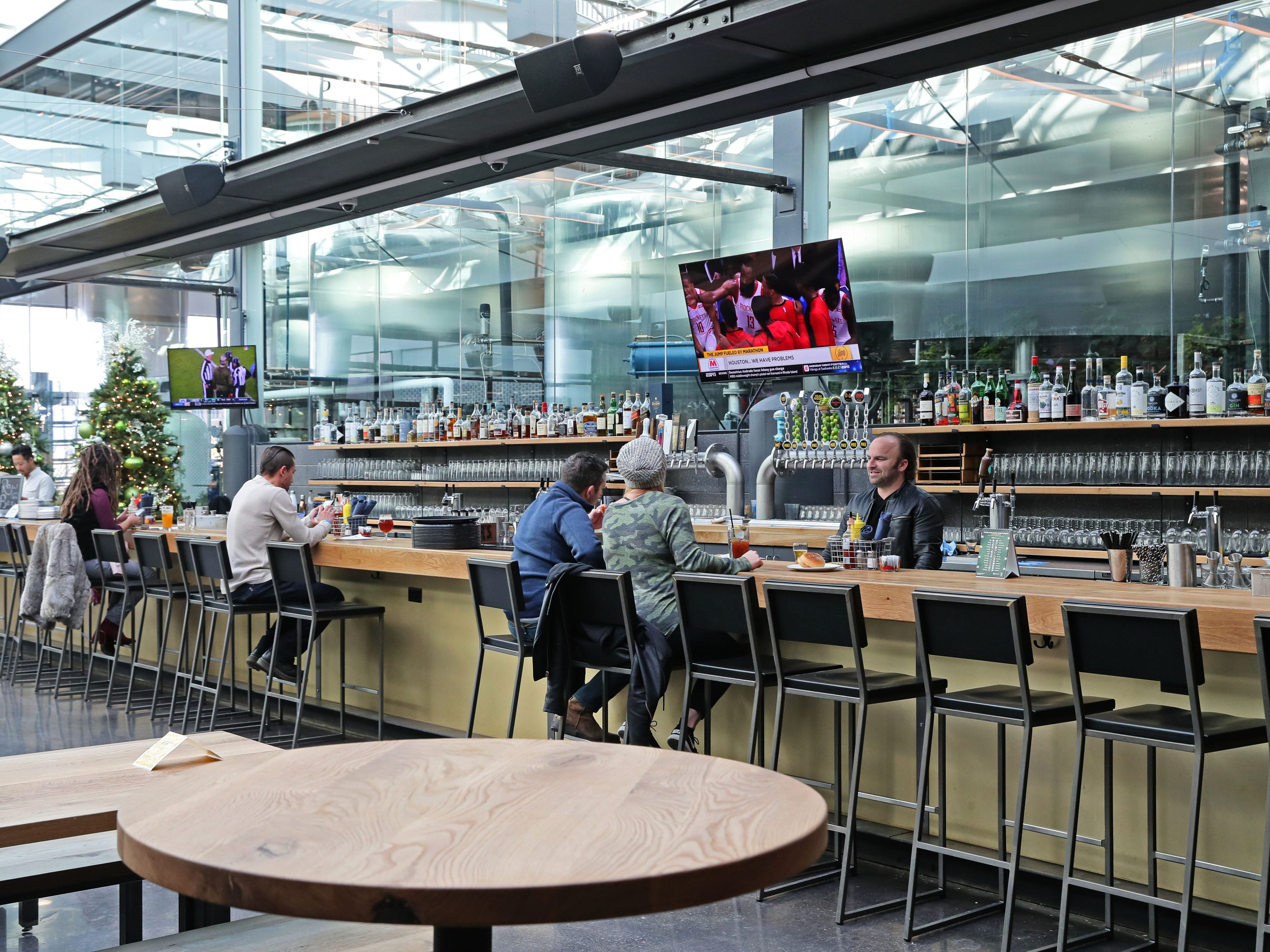 The bar area at Glass + Griddle has an open feel, as seen in December 2018.