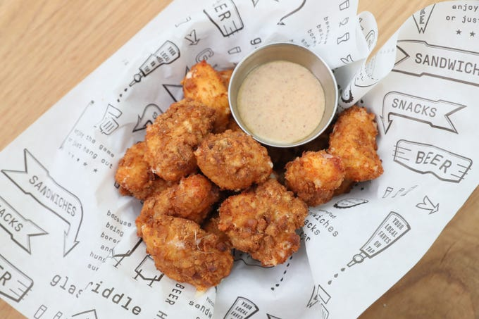 Pretzel Cheese Curds get a nice crunch at Glass + Griddle.