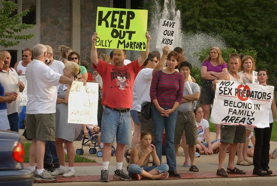 Concerned citzens gathered in front the West Allis City Hall where they voiced their opinions before the Common Council in 2003 to sex offender Billy Lee Morford being placed in the community.