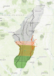 Map of Mississippi Alluvial Plain flight line plan, Dec. 13, 2018. Green denotes upcoming Louisiana flight lines, orange shows completed lines, and grey represents planned lines.