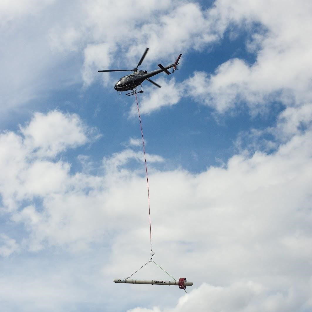 CGG RESOLVE helicopter system in Greenwood, Mississippi. The USGS is working with CGG and other partners to gather geophysical information related to the Mississippi Alluvial Plain. The helicopter will be deployed in several smaller focus areas of interest where a series of high-resolution survey grids will be acquired.