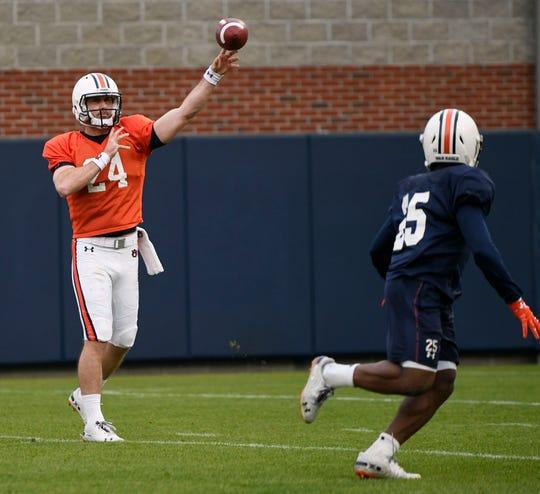 Auburn quarterback Cord Sandberg throws during practice on Thursday, Dec. 13, 2018 in Auburn, Ala.