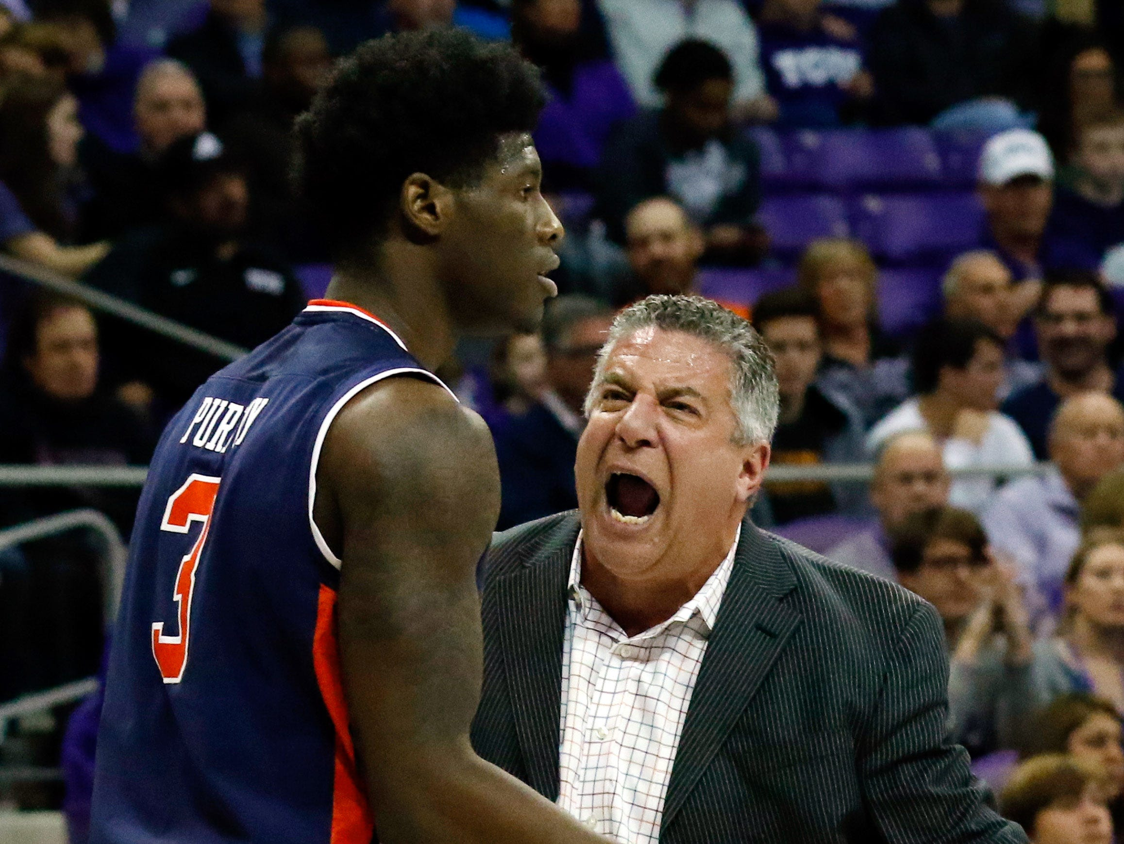 Jan 28, 2017; Fort Worth, TX, USA; Auburn Tigers head coach Bruce Pearl reacts on the sidelines to forward Danjel Purifoy (3) during a game against the TCU Horned Frogs at Ed and Rae Schollmaier Arena. Auburn won 88-80. Mandatory Credit: Ray Carlin-USA TODAY Sports