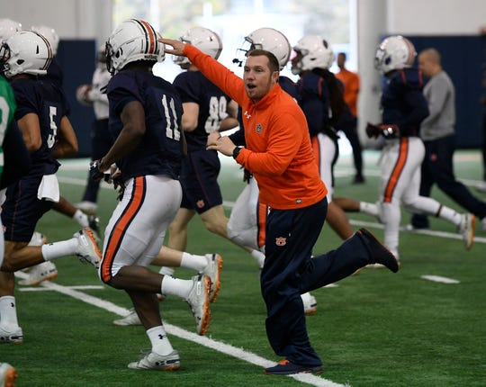 Auburn offensive coordinator Kenny Dillingham during practice on Thursday, Dec. 13, 2018 in Auburn, Ala.