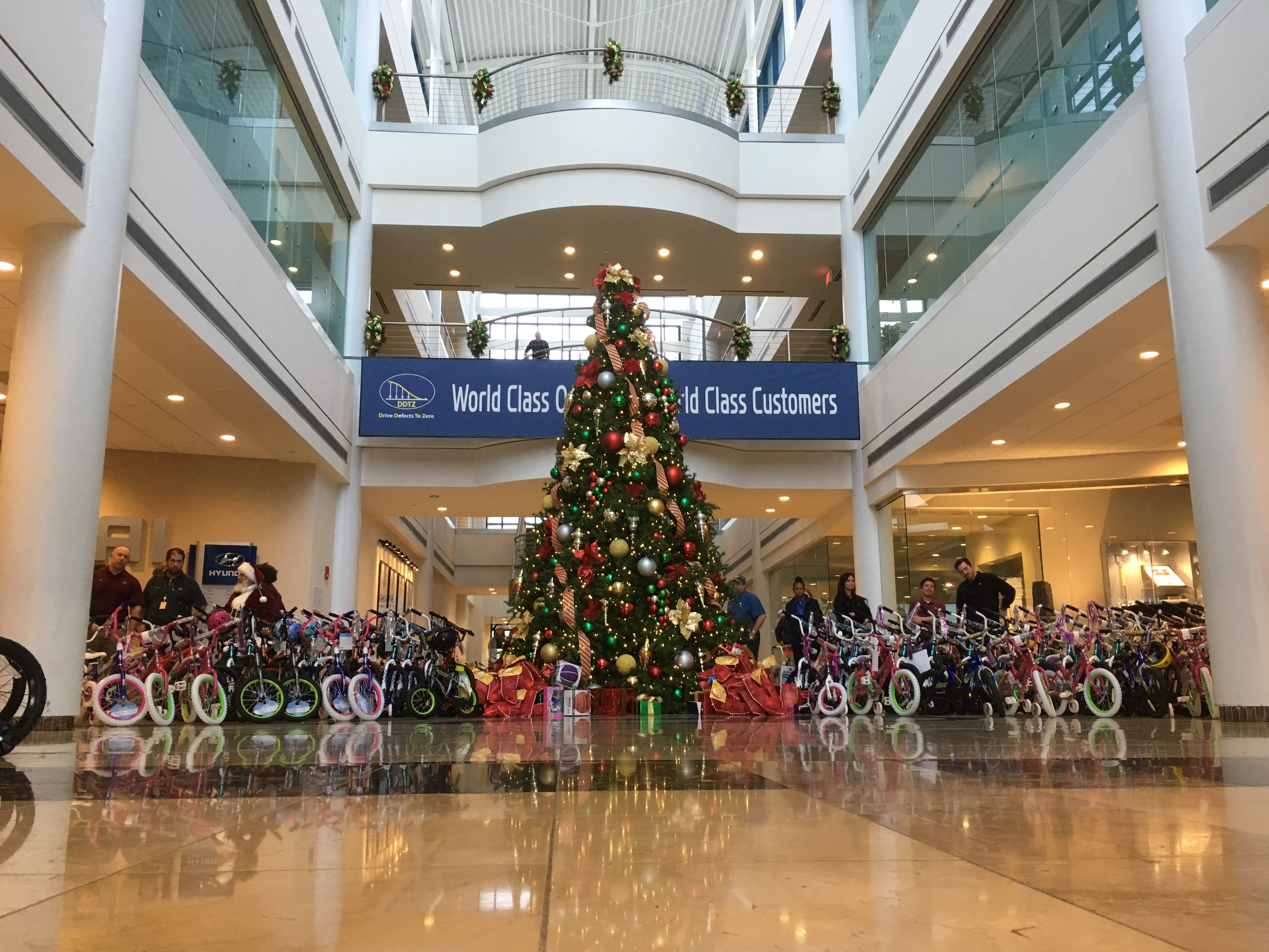 Hyundai Motor Manufacturing Alabama workers prepare to donate toys and gifts for local children.