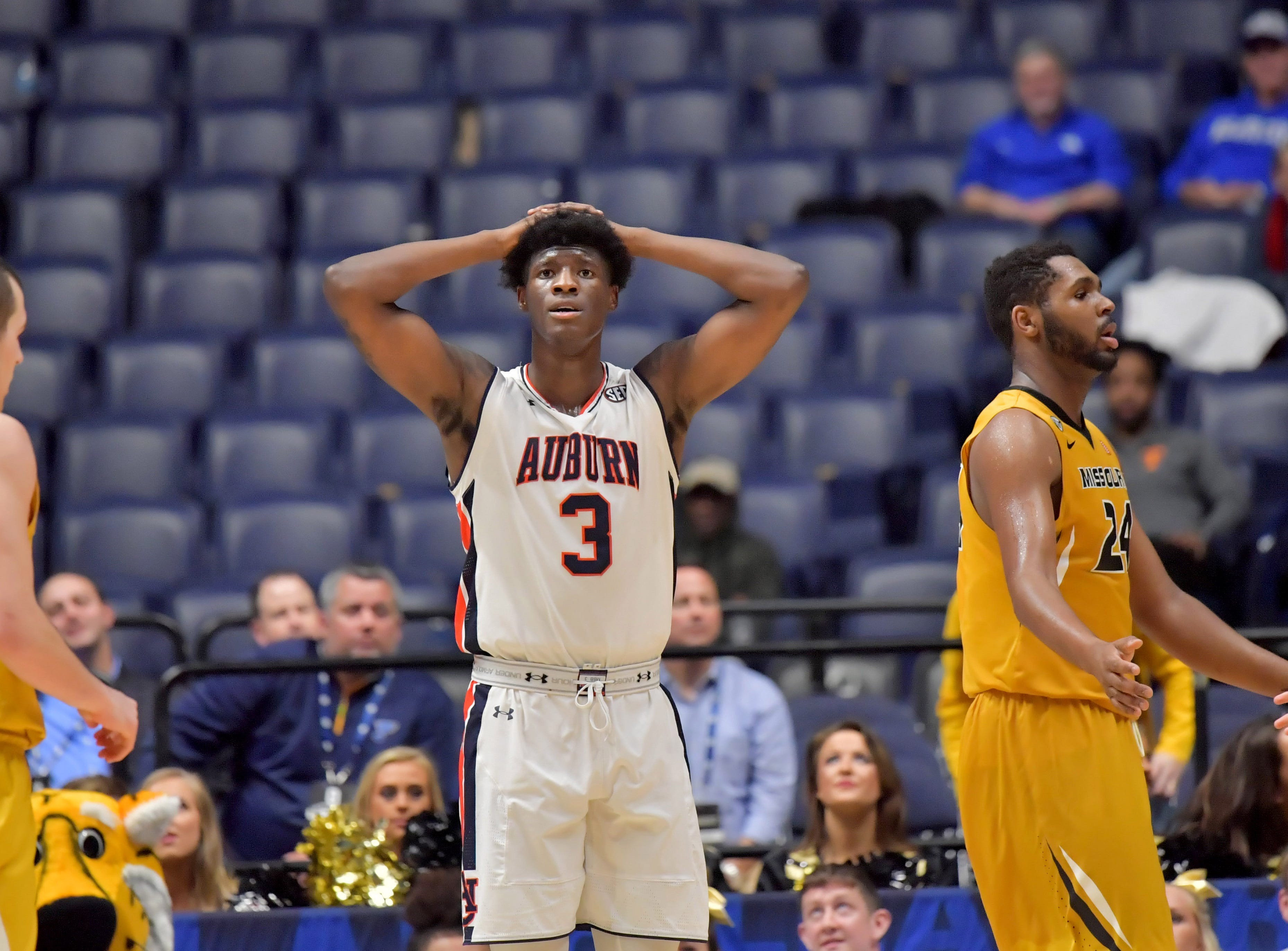 Mar 8, 2017; Nashville, TN, USA; Auburn Tigers forward Danjel Purifoy (3) reacts in the second half of game two of the SEC Conference Tournament against the Missouri Tigers at Bridgestone Arena. Mandatory Credit: Jim Brown-USA TODAY Sports