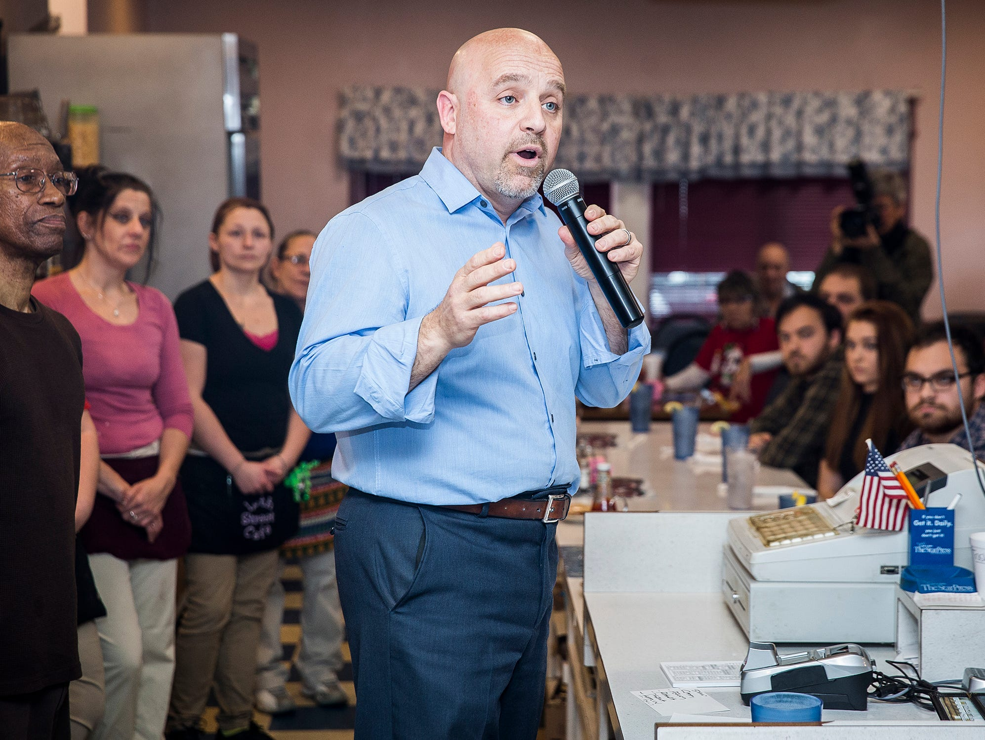 Andrew Dale announces he will seek the Democrat mayoral nomination at the 12th Street Cafe in Muncie Friday afternoon.
