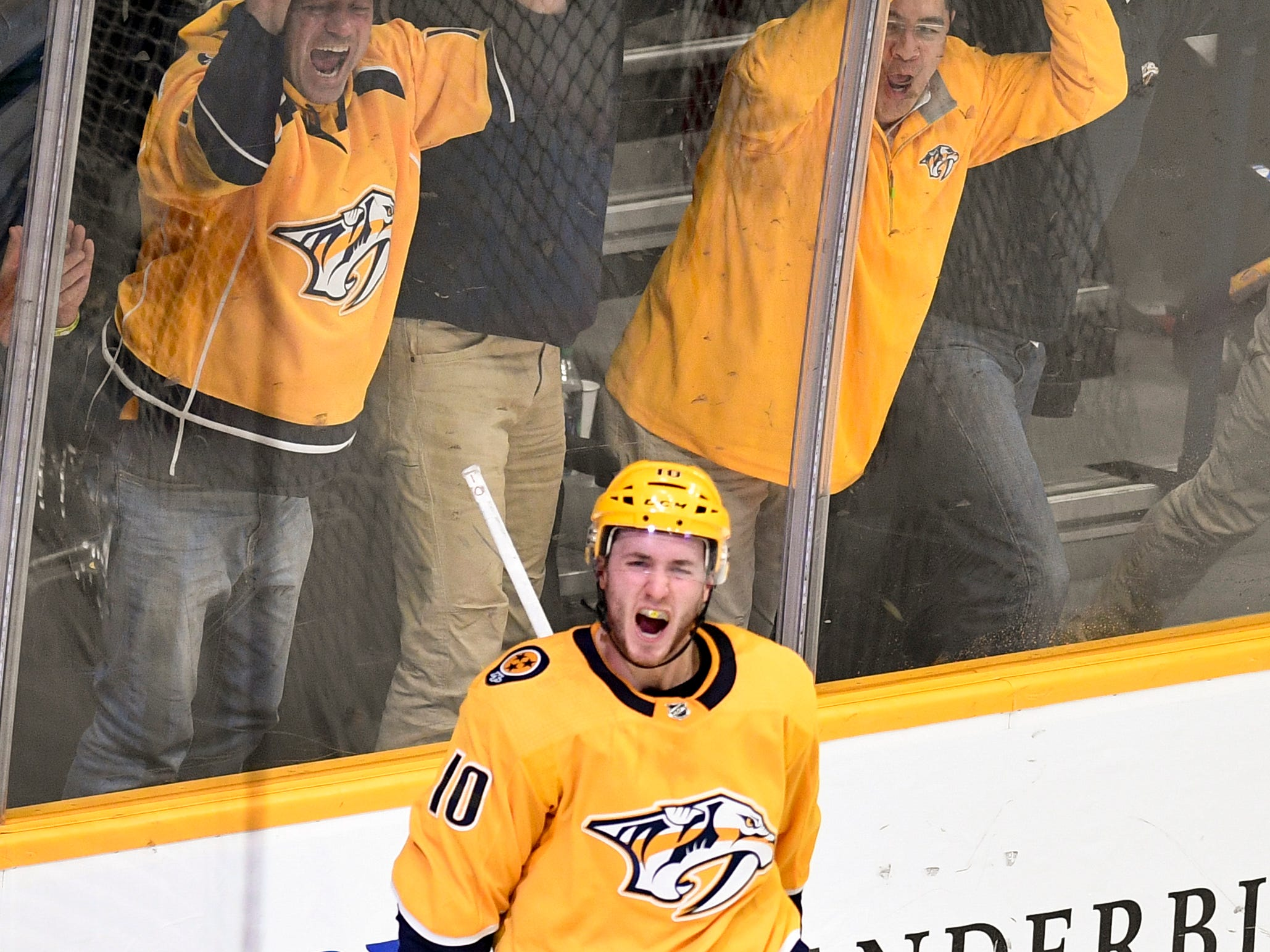Nashville Predators center Colton Sissons (10) reacts to scoring the game-winning goal against the Vancouver Canucks in overtime at Bridgestone Arena in Nashville, Tenn., Thursday, Dec. 13, 2018.