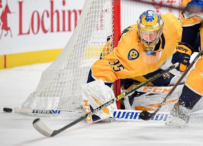 Nashville Predators goaltender Pekka Rinne (35) is on pace for another stellar season.